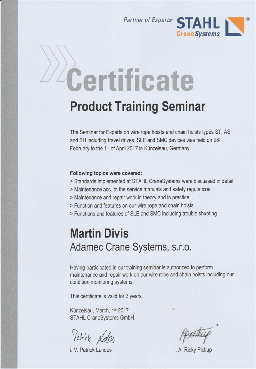 Certifikát Martin Diviš