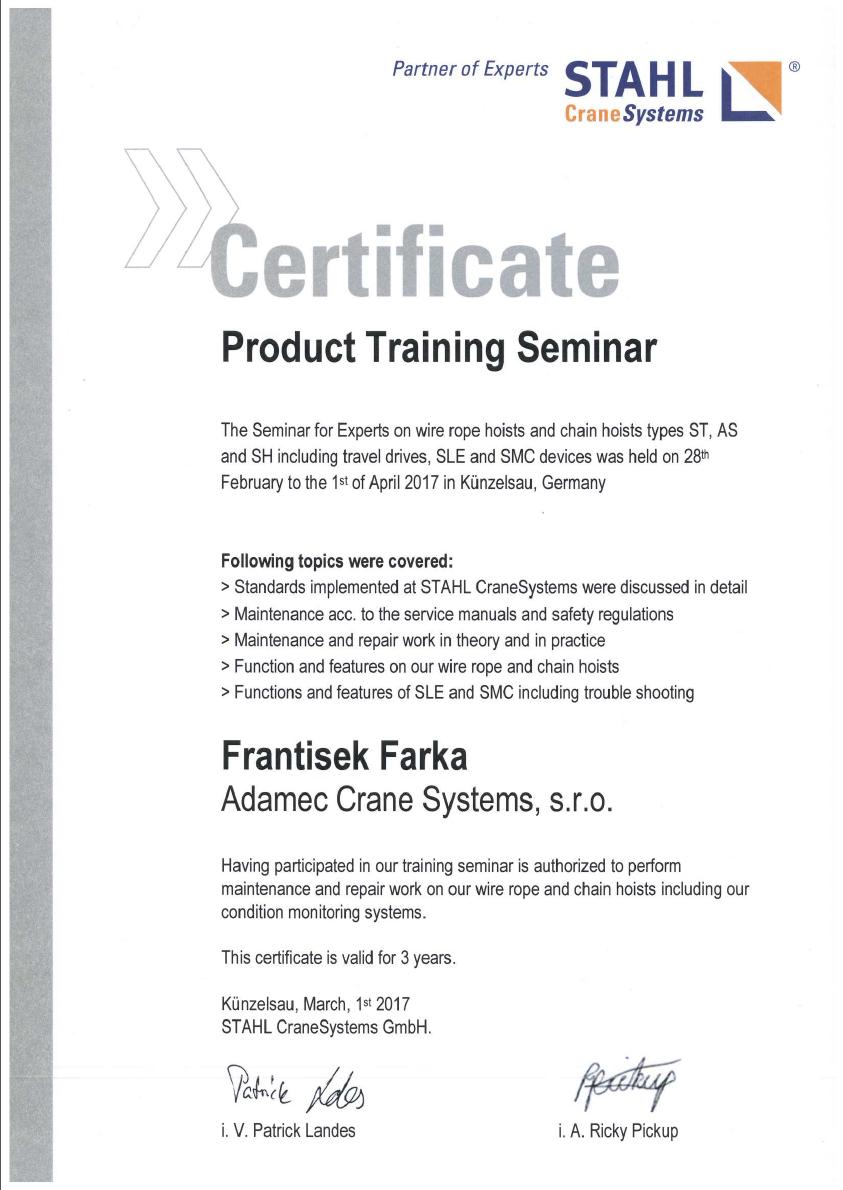 Certifikát František Farka