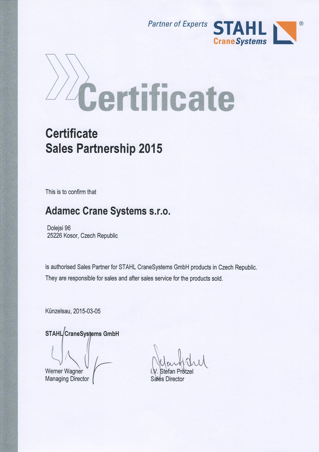Stahl Crane Systems — Certificate of Sales Partnership 2015