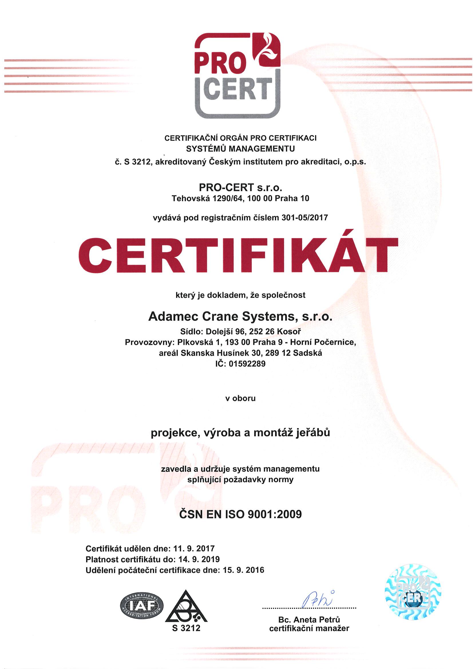 PRO-CERT ISO 9001:2009