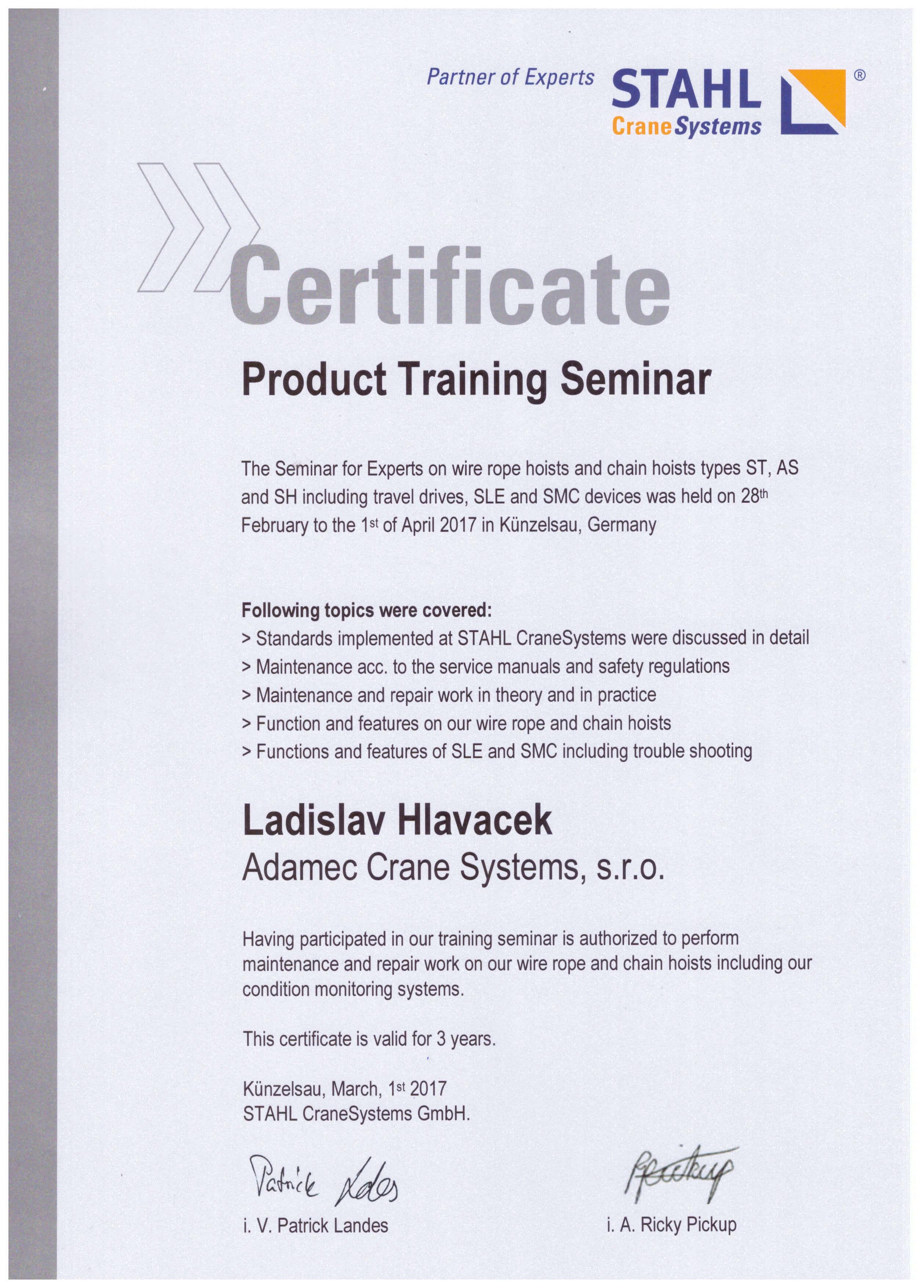 Certifikát Ladislav Hlaváček